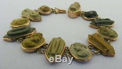 Antique Victorian 12 Carat Gold POMPEI Carved Lava Cameo Bracelet