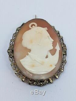 Antique Victorian 12 K Gold Filled Carved Shell Cameo Letitia Goddess Brooch