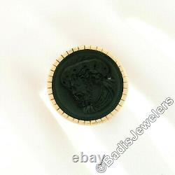Antique Victorian 14K Gold Black Onyx Carved Intaglio Male Round Platter Ring