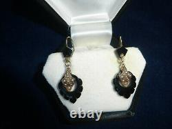 Antique Victorian 14K Gold Carved Black Onyx & Seed Pearl Earrings 1 1/2
