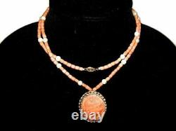 Antique Victorian 14K Gold Carved Cameo Pendant with Coral & Pearl Bead Necklace