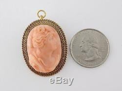 Antique Victorian 14K Gold Carved Coral Ceres Demeter Cameo Brooch Pendant