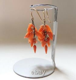 Antique Victorian 14K Gold Carved Coral Flower & Leaf Earrings 1 3/4-Inches Long