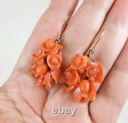 Antique Victorian 14K Gold Carved Red Coral Flower & Leaf Earrings