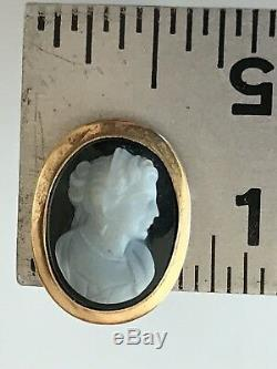 Antique Victorian 14K Gold Carved Shell Cameo Black Onyx Stud Earrings Marked 7g