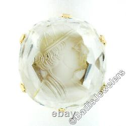 Antique Victorian 14K Gold Intaglio Carved Large Rock Crystal Solitaire Ring