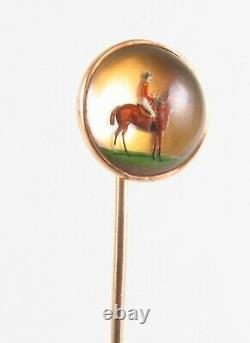 Antique Victorian 14K Gold Reverse Carved Essex Crystal Equestrian Stick Pin