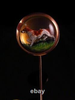 Antique Victorian 14K Gold Reverse Carved Essex Crystal Pointer Dog Stick Pin