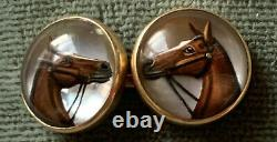 Antique Victorian 14K Gold Reverse Carved Essex Crystal Pointer Horse 15mm