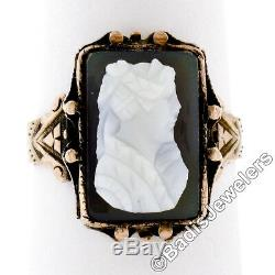 Antique Victorian 14K Solid Rose Gold Carved Agate Cameo Engraved Etched Ring
