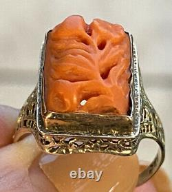Antique Victorian 14K White Gold Filigree Carved Coral Flowers Ring Sz 6.75