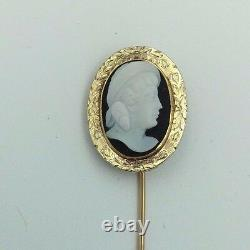 Antique Victorian 14K Yellow Gold Black/White Carved Hardstone Cameo Stickpin