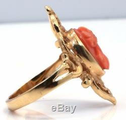 Antique Victorian 14K Yellow Gold Carved Coral Cameo Floral Motif Ring