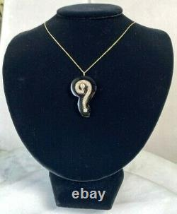 Antique Victorian 14K Yellow Gold Diamond Carved Onyx Question Mark Pendant