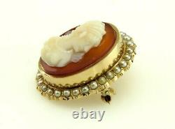 Antique Victorian 14K Yellow Gold Natural Pearl & Carved Shell Cameo Pin/Brooch