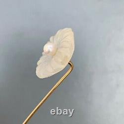 Antique Victorian 14 KT Gold Carved rock Crystal Flower Pearl Stick Pin