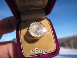 Antique Victorian 14 kt. Gold Carved Greek God Eros Moonstone & Diamonds Ring