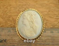 Antique Victorian 14ct Gold Carved Pink Shell Bacchante Bacchus Cameo Brooch Pin