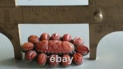 Antique Victorian 14k Gold Carved Coral Brooch-Coral jewelry-Estate Jewelry