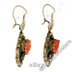 Antique Victorian 14k Gold Carved Coral Cameo Hand Engraved Drop Dangle Earrings