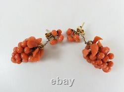 Antique Victorian 14k Gold Carved Coral Grape-Bunch Earrings Coral Button Tops
