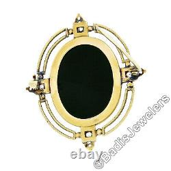 Antique Victorian 14k Gold Carved Oval Onyx Hardstone Cameo Mine Diamond Brooch