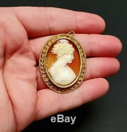 Antique Victorian 14k Gold Mounted Carved Shell Cameo Portrait Pendant