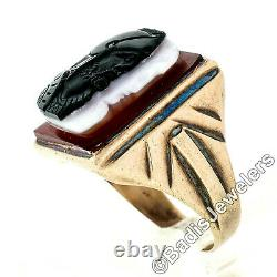 Antique Victorian 14k Gold White & Black Agate Double Cameo on Carnelian Ring