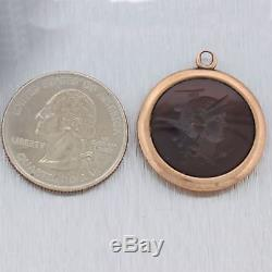 Antique Victorian 14k Rose Gold Carved Carnelean Intaglio FOB Charm Pendant N8