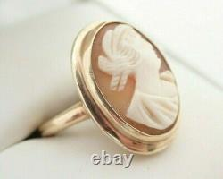 Antique Victorian 14k Solid Gold Carved Cameo Shell Ring Sz 5.25 5.7grams