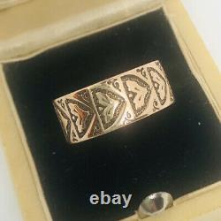 Antique Victorian 14k Solid Rose Gold Cigar Band Ring Carved 7mm 2.5gm Sz 6.5