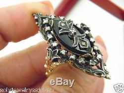 Antique Victorian 14k Y/Gold Black Onyx Carved & Rose Cut Diam Ring Sz 9.75