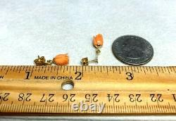Antique Victorian 14k Yellow Gold Carved Coral Rose Pierced Dangle Earrings