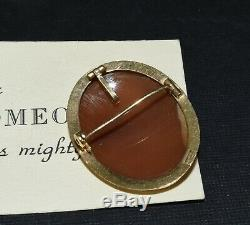 Antique Victorian 14k Yellow Gold Carved Shell Floral Cameo Pin Brooch Pendant