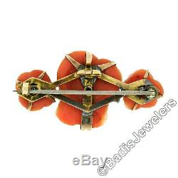 Antique Victorian 14k Yellow Gold GIA Rose Carved Natural Coral Bar Pin Pendant
