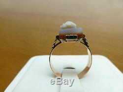 Antique Victorian 14k rose gold engrave carved hardstone cameo ring left sardonx