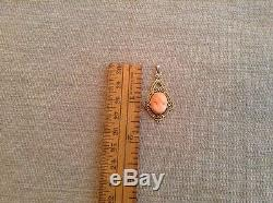 Antique Victorian 14kt Yellow Gold Carved Italian Cameo Pendant Brooch Charm