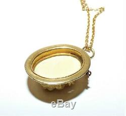 Antique Victorian 15ct Gold Dieppe Carved Flower Pendant Necklace 9ct Gold Chain