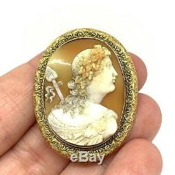 Antique Victorian 15ct gold Carved cameo brooch