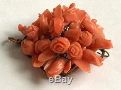 Antique Victorian 1880s 9 ct gold coral carved flowers pendant brooch. 1 5/8