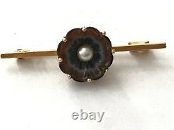 Antique Victorian 1890's 9 ct gold carved agate pearl flower brooch pin
