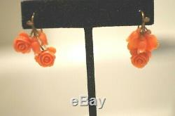 Antique Victorian 18K Gold Carved Roses Coral Earrings
