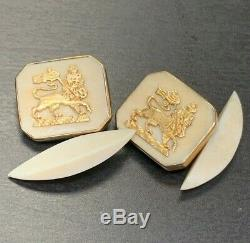 Antique Victorian 18K Yellow Gold Lion Carved Cuff Links
