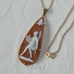 Antique Victorian 18ct 750 Rose Gold Carved Shell Cameo Pendant + 9ct 375 Chain