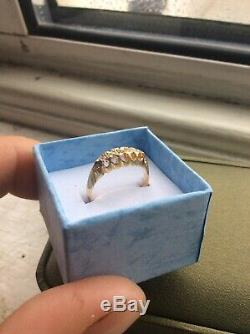 Antique Victorian 18ct Gold Carved Half Hoop Diamond Set Ring