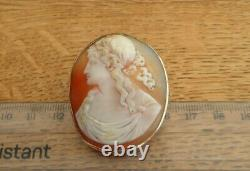 Antique Victorian 18ct Gold Large Finely Carved Demeter Shell Cameo Brooch Pin