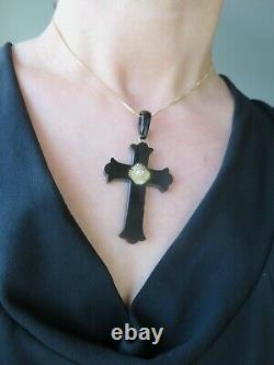 Antique Victorian 18ct Gold Old Cut Diamond Carved Large Cross Pendant