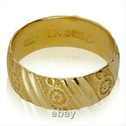 Antique Victorian 18ct Yellow Gold Carved Wedding Ring 1892