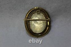 Antique Victorian 18k Gold Carved Shell Cameo Swivel Brooch Pendant Signed