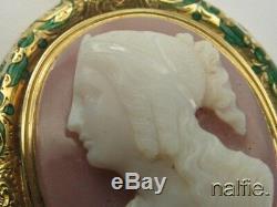 Antique Victorian 18k Gold Enamel Finely Carved Hardstone Cameo Locket Pendant